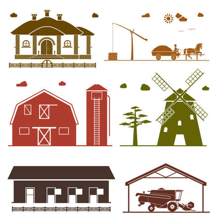 homestead: House, shadoof, barn, hangar, windmill, garage for agricultural machines. Agriculture icons.