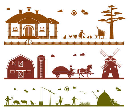 animals feeding: Feeding domestic animals, transporting crops with horse drawn wagon to a windmill, grazing sheep, taking water out of the well, mowing, resting in the field. Agriculture icons.