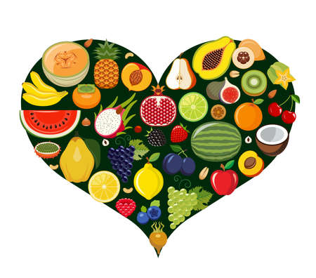heart disease: Set of fruit icons forming heart shape. Vegetarian food icons. Healthy low fat food preventing cardiac disease. Vector illustration.