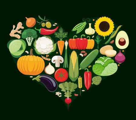 heart health: Set of vegetable icons forming heart shape. Vegetarian food icons. Healthy low fat food preventing cardiac disease. Vector illustration. Illustration
