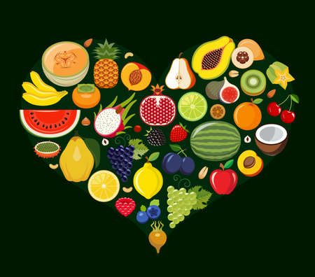 multivitamin: Set of fruit icons forming heart shape. Vegetarian food icons. Healthy low fat food preventing cardiac disease. Vector illustration.