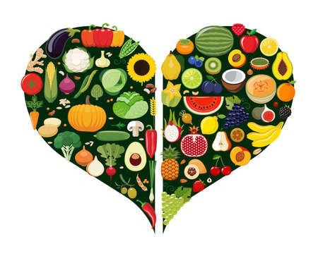 multivitamin: Set of fruit and vegetable icons forming heart shape. Vegetarian food icons. Healthy low fat food preventing cardiac disease. Vector illustration.