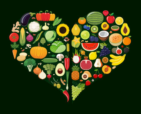 low fat: Set of fruit and vegetable icons forming heart shape. Vegetarian food icons. Healthy low fat food preventing cardiac disease. Vector illustration.