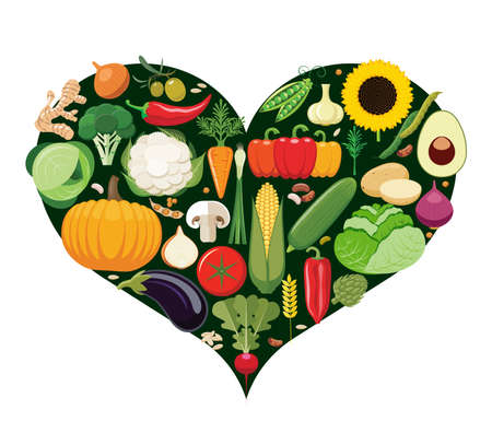 grocer: Set of vegetable icons forming heart shape. Vegetarian food icons. Healthy low fat food preventing cardiac disease. Vector illustration. Illustration