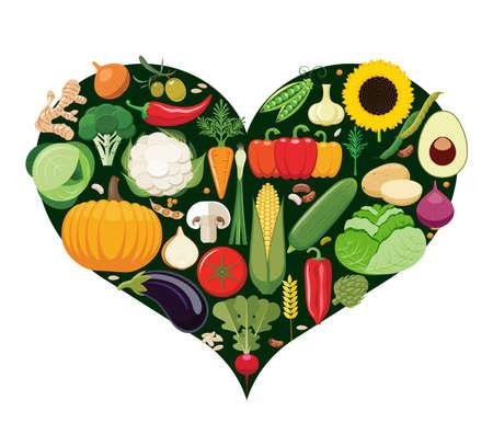 vegetarian food: Set of vegetable icons forming heart shape. Vegetarian food icons. Healthy low fat food preventing cardiac disease. Vector illustration. Illustration