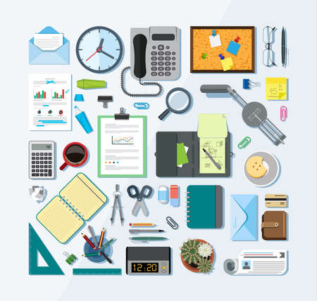 business equipment: Collection of icons related to business, office and school. Flat design style.