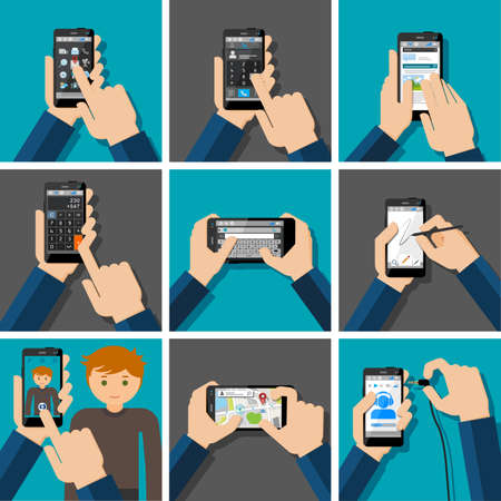 phone hand: Drawing, message, calculator, camera, map, chatt, message. Illustration