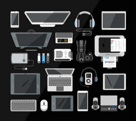 computer equipment: Computer, laptop, monitor, tablet, camera, headphones, mouse, usb isolated on black backround. Network and mobile devices. Network connections. Office equipment. Illustration