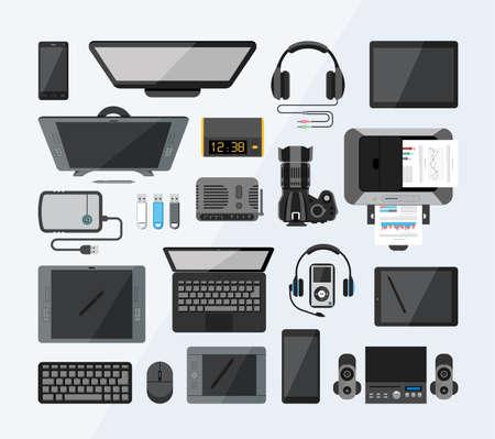 Raccolta di icone di tecnologia moderna dalla vista degli occhi di uccello. Stile di design piatto.