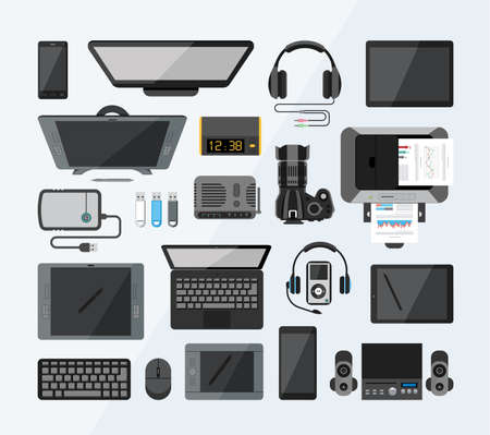 Collection of modern technology icons from the bird's eye view. Flat design style. Illustration