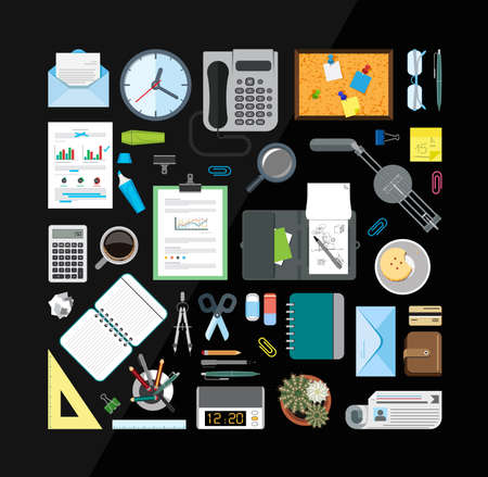 office supply: Collection of icons related to business, office and school. Flat design style.