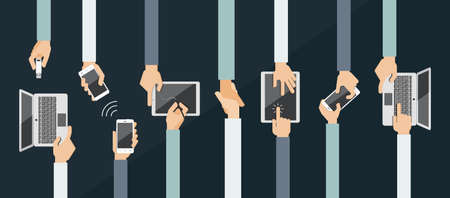 business meeting computer: Hands holding various high-tech devices.   Flat design vector illustration of hands holding computer and comunication devices. Concept illustrating  business meeting. Brainstorming.