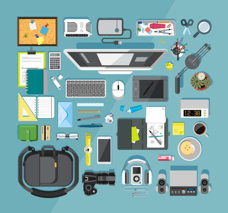 tool bag: Flat design vector illustration of modern items for school and business