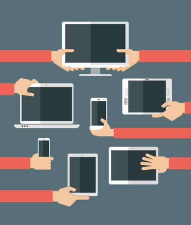 responsive design: Set of high-tech devices. Vector illustration