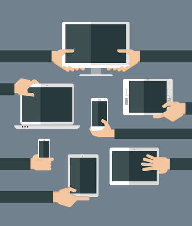 computer devices: Hands holding various high-tech devices. Flat design vector illustration of hands holding computer and comunication devices. Concept illustrating  business meeting. Brainstorming.