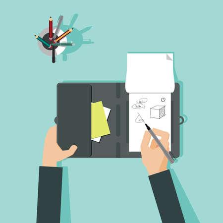 graphic artist: Flat design illustration of hand  drawing sketches. Vector illustration Illustration