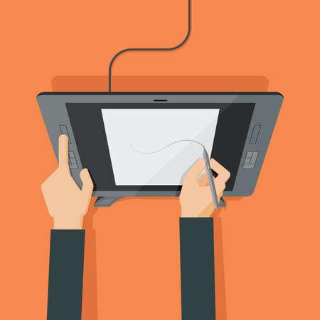 ilustracion: Manos que drenan en la tableta gr�fica. ilustraci�n vectorial