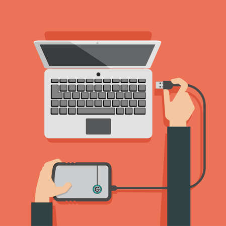 website button: Vector illustration of laptop and hands attaching external memory to laptop Illustration