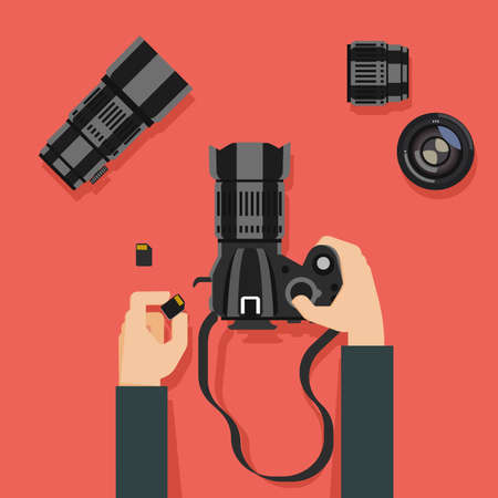 Flat design vector illustration of hands with camera and photography equipment Ilustração