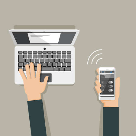 using laptop: Flat design illustration of hands using laptop and holding smartphone