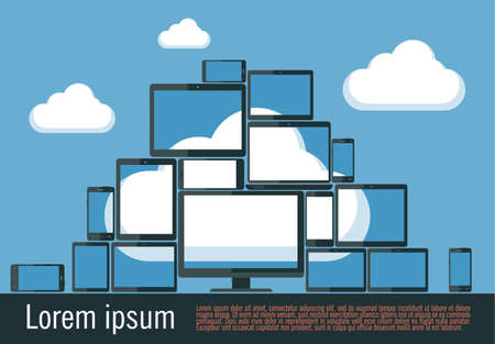 computer devices: Flat design illustration  of cloud computing. Various computer and communication devices with cloud reflection.