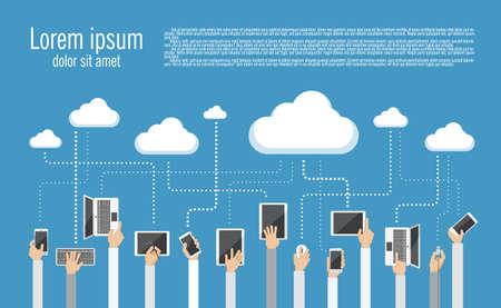 Ilustración Diseño plano de la computación en nube. Manos que sostienen diversos dispositivos informáticos y de comunicación que conectan a la nube.