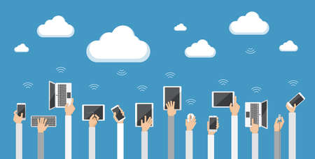 Flat design illustration  of cloud computing. Hands holding various computer and communication devices connecting to the cloud