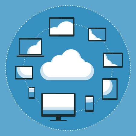 communication devices: Flat design illustration  of cloud computing. Various computer and communication devices surounding cloud and reflecting cloud on their screens. Illustration