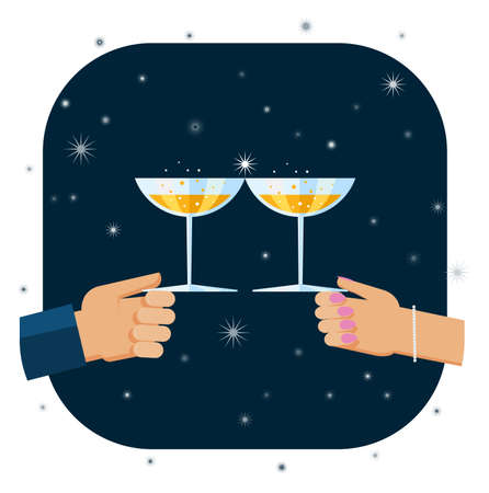 special events: Flat design illustration of hands holding glasses with champagne and tosting to celebrate New Year and special events.