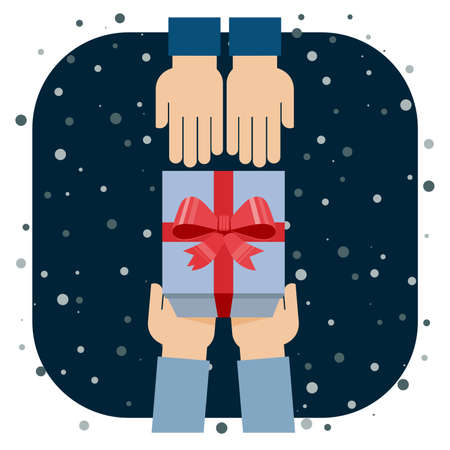 gift ribbon: Flat design illustration of hands giving present. Vector illustration. Illustration