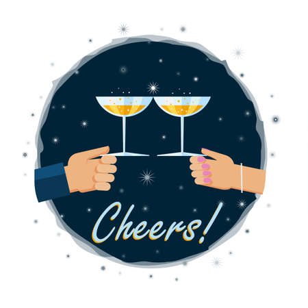 toasting: Vector illustration. Flat design illustration of hands toasting with a glass of champagn