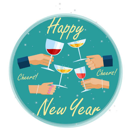 time of the year: Hands holding glassess with wine and champagne, toasting and celebraing on New Years Eve.