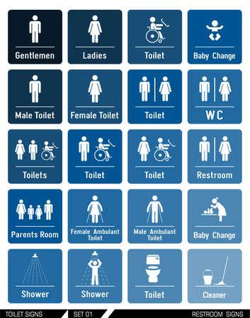 Signes Restroom illustration. Vector illustration. icônes WC.