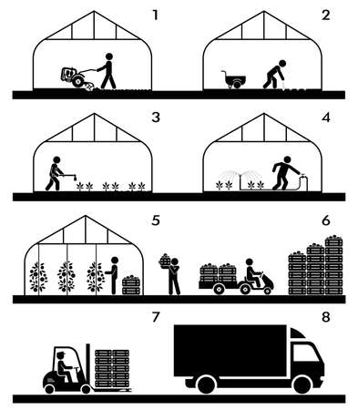 warehousing: Pictogram icon set presenting different stages in agricultural process and gardening. Plowing, sowing, watering, picking, palletisation and warehousing, transporting.