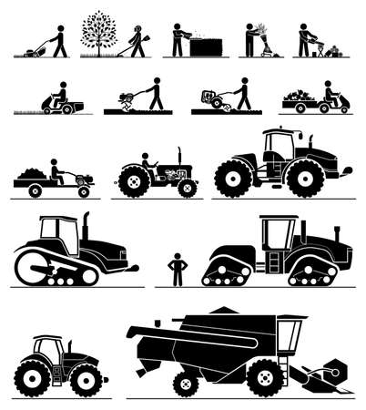 tillage: Conjunto de diferentes tipos de jardinería y vehículos agrícolas y máquinas. Mower, condensador de ajuste, sierra, cultivador, tractores, cosechadoras, cosechadoras y excavadoras. Icono conjunto de máquinas de trabajo.