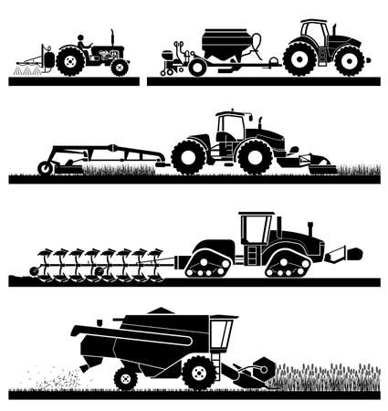 Set of different types of agricultural vehicles and machines harvesters, combines and excavators. Icon set of working machines. Agricultural machines with accessories for plowing, mowing, planting, spraying and harvesting.  イラスト・ベクター素材