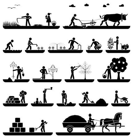 harvesting: Mowing, plowing, planting, watering, pruning trees, digging, chopping wood, baling hay, collecting crops, transporting with horse drawn wagon. Agriculture icons.