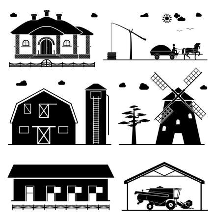 barns: House, shadoof, barn, hangar, windmill, garage for agricultural machines. Agriculture icons.
