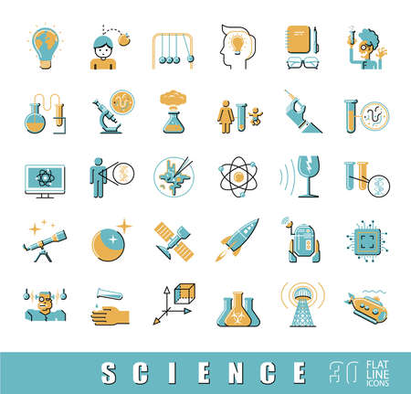genetic engineering: Flat line icons of science, ideas, physics,  chemistry, astronomy, genetic engineering