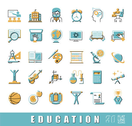 distance learning: Flat line icons of school and education, distance learning, creative process, science, art and sport