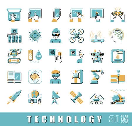 imprenta: Varios iconos de alta tecnología. iconos de líneas planas.