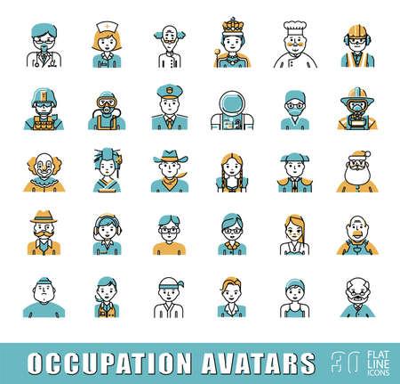 Collection d'icônes avatar liés à l'occupation professionnelle. Flat set ligne d'icônes d'occupation. Vector illustration. Vecteurs