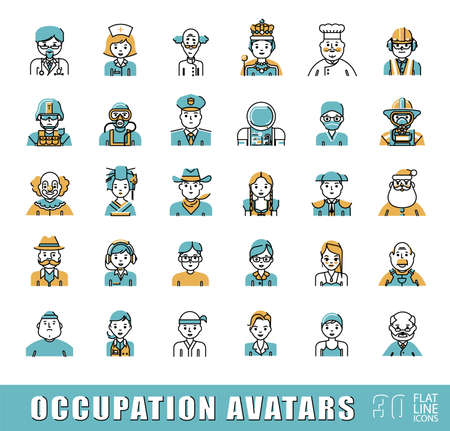 occupations: Collection of avatar icons related to professional occupation. Flat line set of occupation icons. Vector illustration.