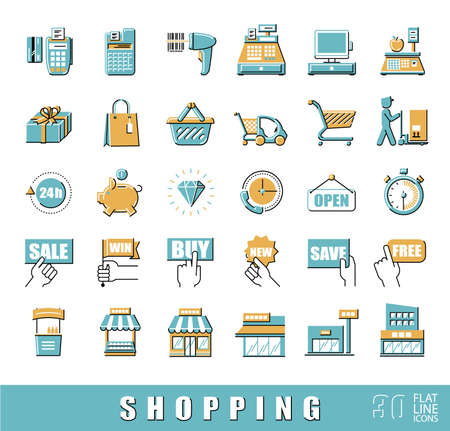 checkout counter: Set of shopping icons. Vector illustration. Premium quality outline symbol collection. Flat line icons set.