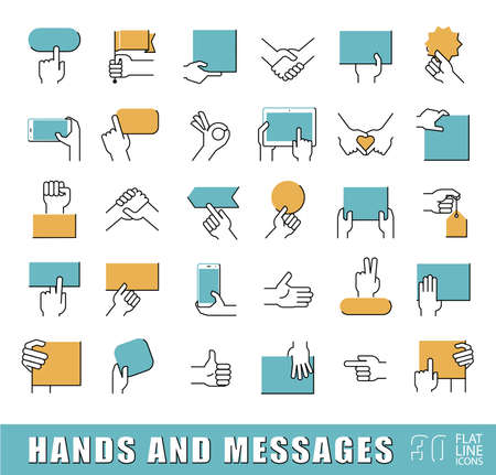 trades: Hands holding messages. Hand gestures. Collection of hands holding blank paper brochure, tablet, mobile phone and various signs. Premium quality outline symbol collection. Flat line icons set.