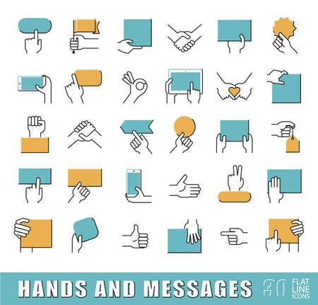 comercio: Manos que sostienen los mensajes. Gestos con las manos. Colección de manos que sostienen el papel en blanco folleto, tableta, teléfono móvil y diversos signos. calidad de la captación símbolo del esquema de suscripción. Conjunto de iconos de línea plana.