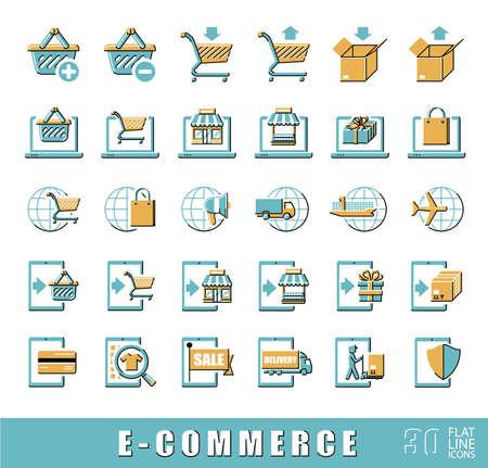 troley: Premium quality flat line icon set for e-commerce.