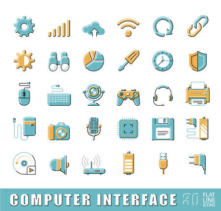 Collection of icons for web and communication technology.