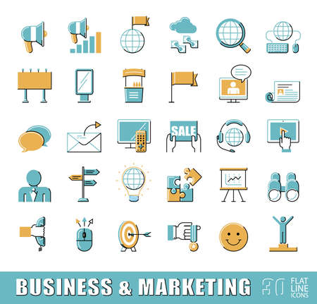 Set of flat line business and marketing icons. Collection of premium quality icons for advertising and communication. Illustration