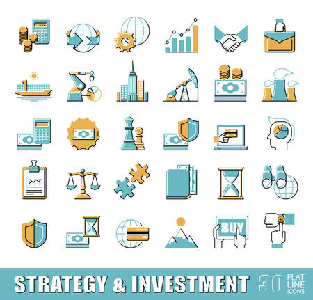 icons business: Set of premium quality flat line strategy and investment icons.   Collection of web business icons. Illustration